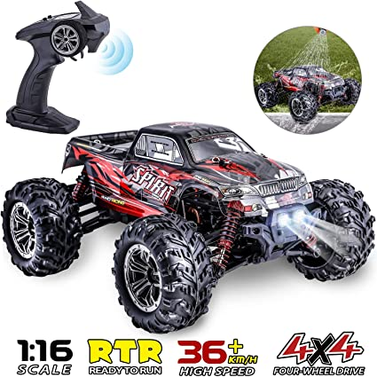 Amazon Com Hishertoy Remote Control Car For Adults Boys Girls Big Rc Trucks For Adults Ipx4 Waterproof Off Road Rc Cars For Adults Kids 1 16 36km H Monster Hobby Cross Country Buggy With Headlights