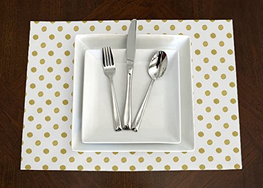 A LuxeHome White and Metallic Gold Modern Contemporary Polka Dot Lunch or Dinner Napkins 17 x 17 Set of 4