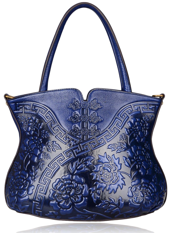 PIJUSHI Designer Flower Handbag Womens Top Handle Shoulder Satchel Bag Holiday Gift (22331 Blue)