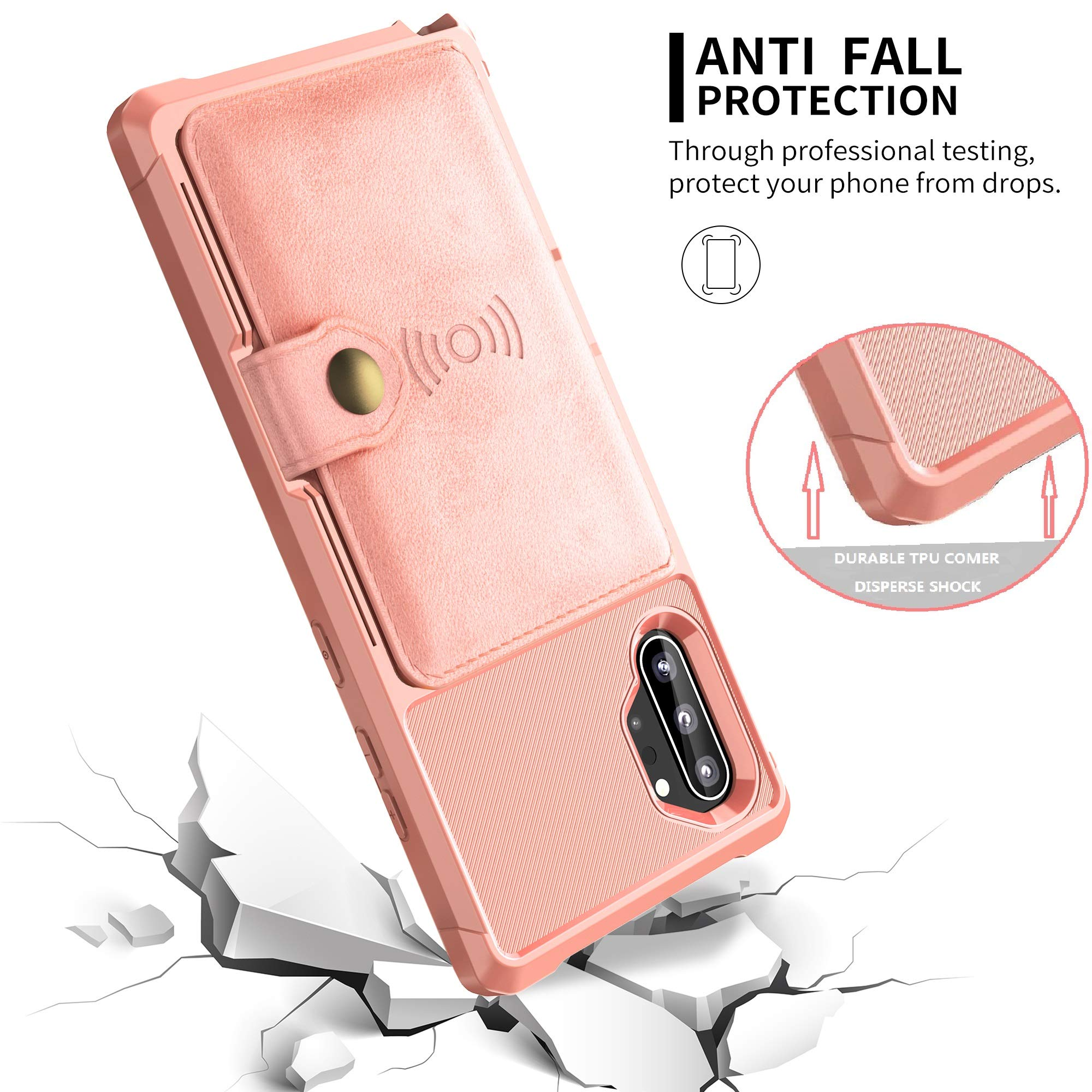 Galaxy Note 10 Plus Wallet Case, Sumsung Note 10+ Flip Leather Kickstand Fit Magnetic Wireless Car Charger Mount Slim Durable Shockproof Protective Card Slots Holder Case Cover (Pink)
