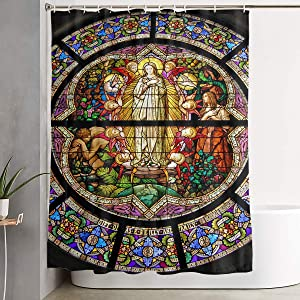 Pooizsdzzz Bathroom Shower Curtain Notre Dame Cathedral Home Decor Shower Curtains with Hooks 60 X 72