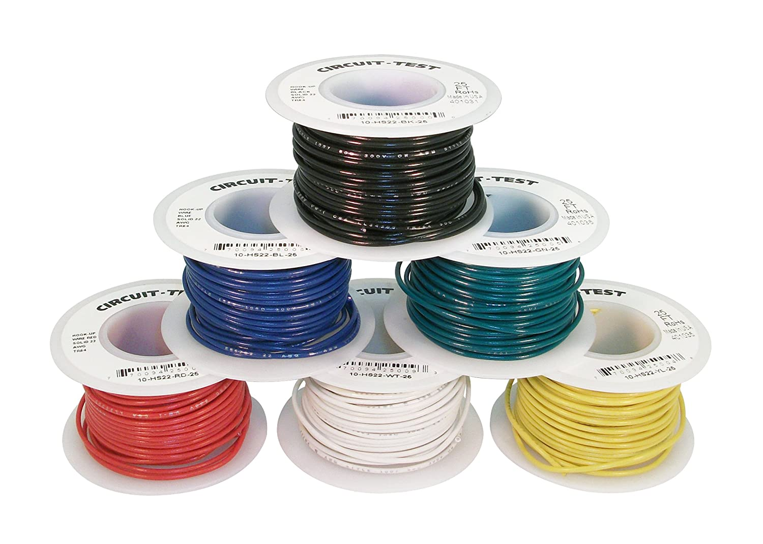 Amazon.com: CIRCUIT-TEST 22AWG Solid Hook Up Wire Kit - 6 x 25 Foot ...