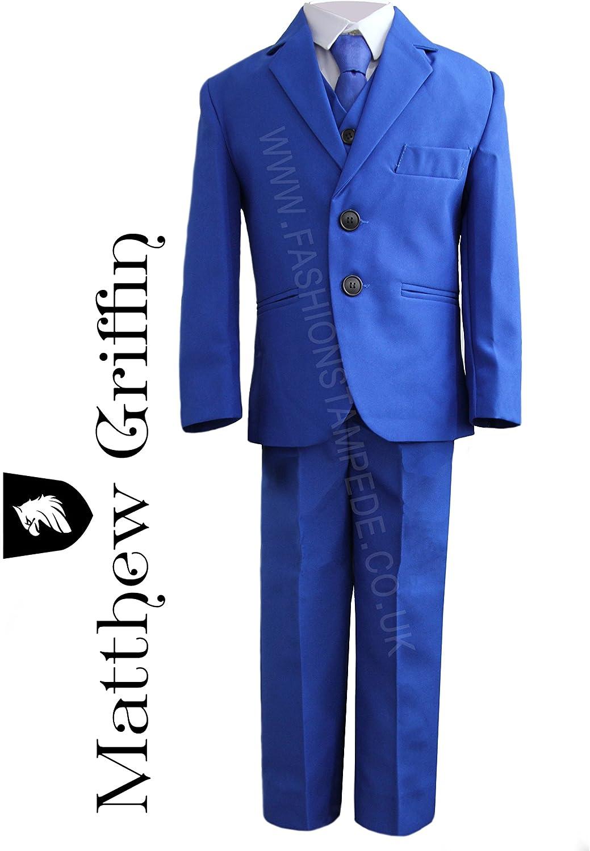 schlanke Passform Party Matthew Griffin Jungen Anzug Alter: 1/Jahr/-/14/Jahre Blau 5-teilig Hochzeit