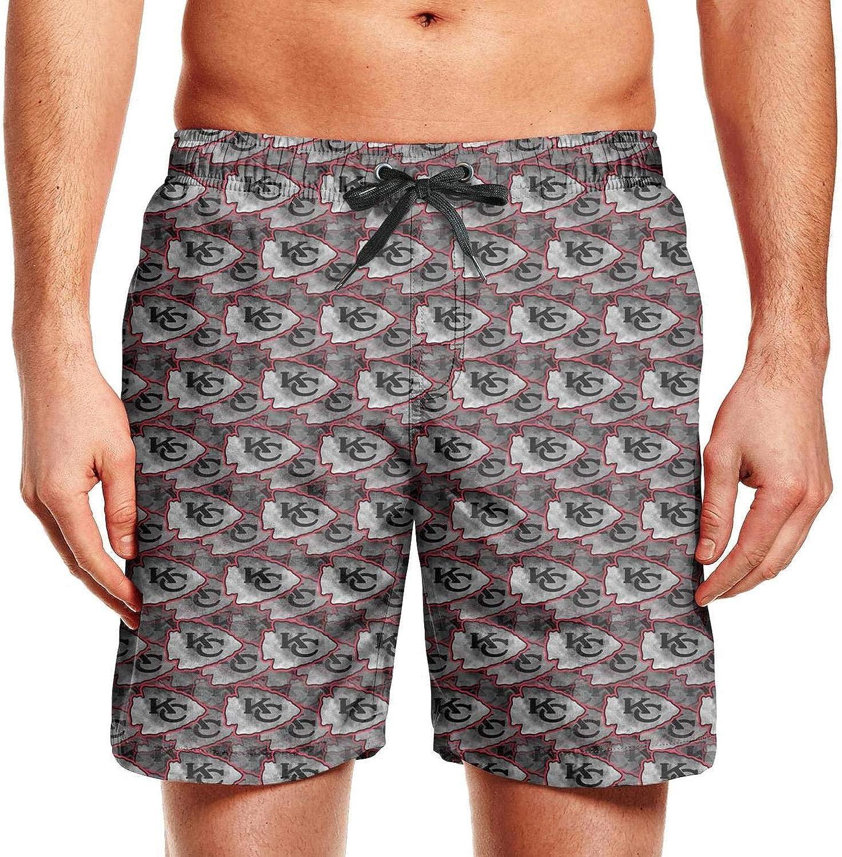 Bquiyesg Kansas City Chiefs Black White Shoes Men Summer Swim Trunks Hawaiian Shorts