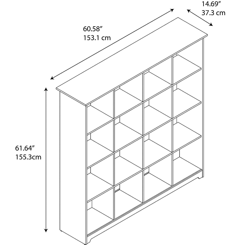 Bush Furniture Cabot 16 Cube Bookcase in Espresso Oak
