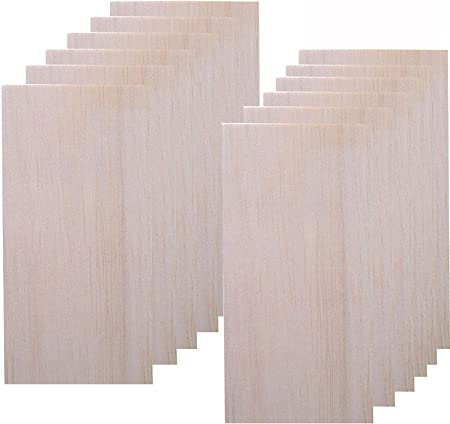 12 Pack Balsa Wood Sheet for Crafts,Thin Wood Sheets for Plane Craft and School Project,200×100 mm ×2 mm