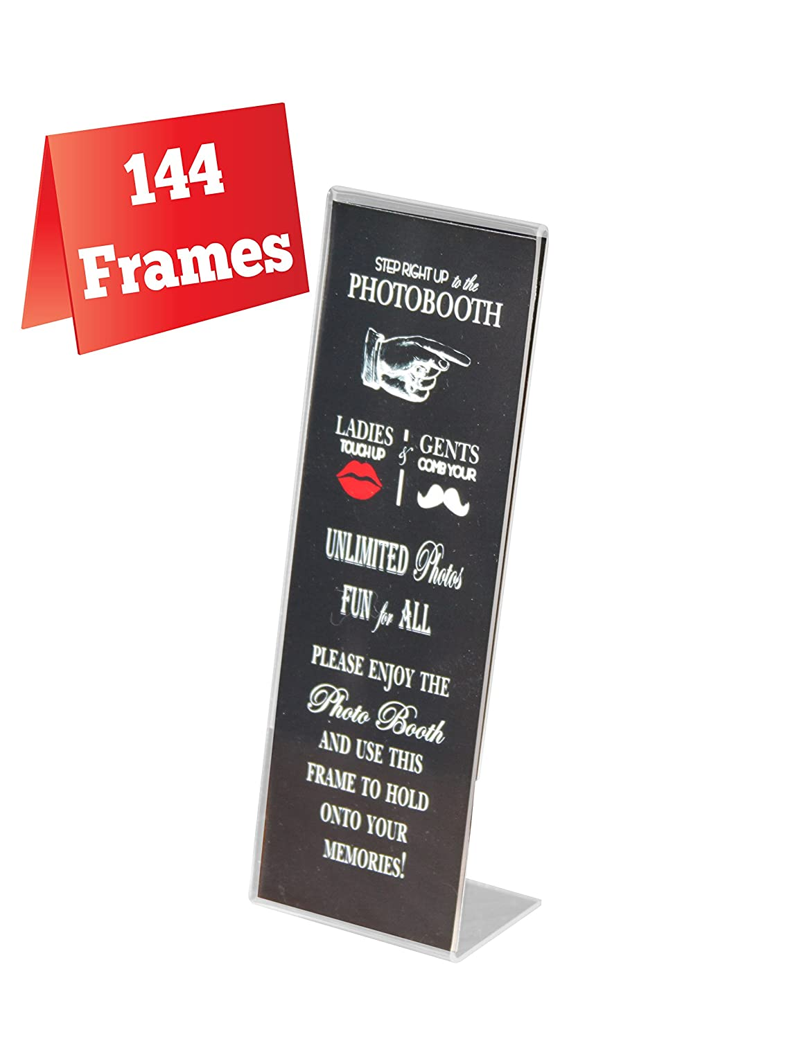 Amazon.com - 144 Acrylic Photo Booth Frames, Slanted for 2x6 Picture ...