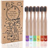 Biodegradable Kids Toothbrushes | BPA-Free Soft Charcoal Bristles |Cute Color-Coded, Animal Logos|Ecofriendly Toothbrushes Ma
