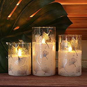 Ginkgo Leaves Pattern Glass Battery Operated LED Candles with Timer, Spring & Summer Decor for Home Table, Flameless Pillar Candles, Batteries Included - Set of 3