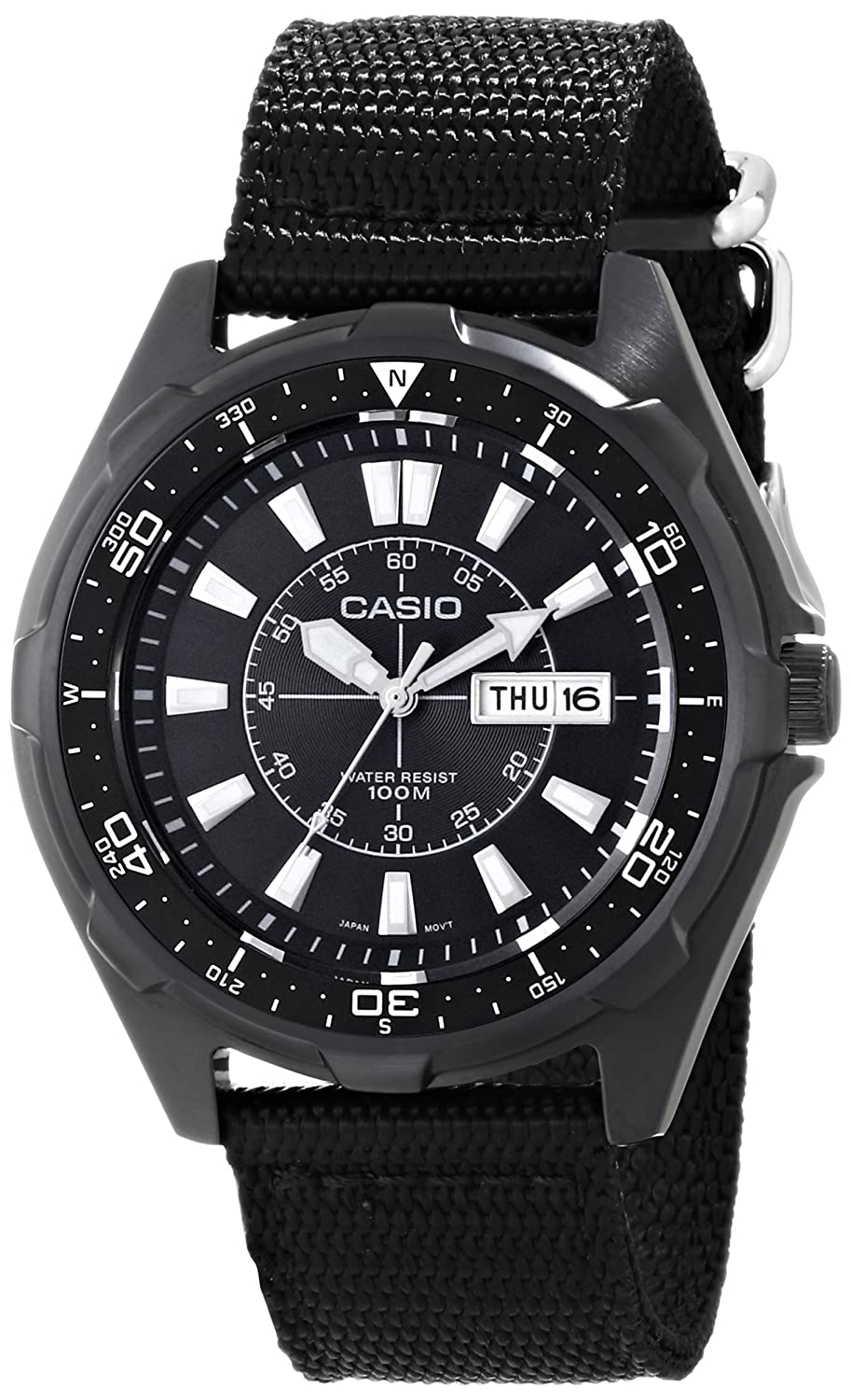 Amazon.com  Casio Men s AMW110-1AV Classic Stainless Steel Watch With Black  Nylon Band  Casio  Watches 0e652e7f97