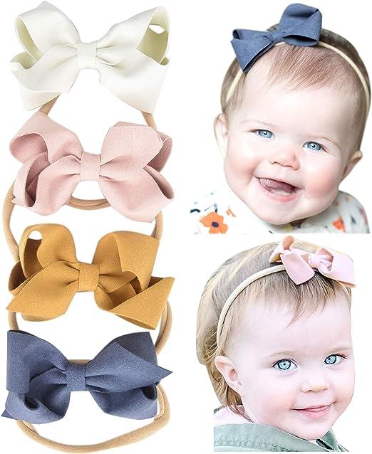 Glitter Bow Nylon Baby Headband Baby Bow Headband Baby Pink Headband Faux Leather Bow Headband Bow Headband Set Baby Girl Bow Headband