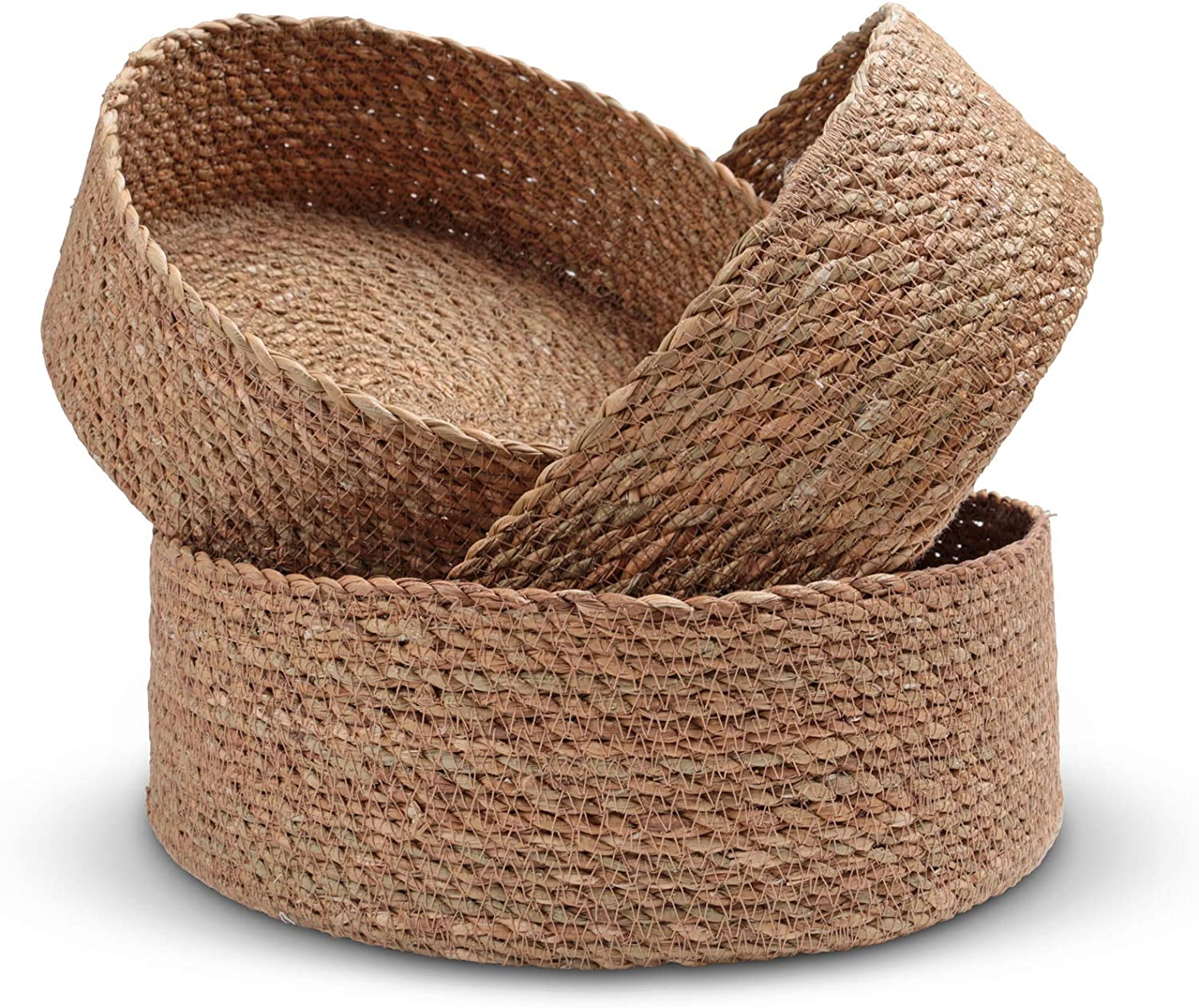 Woven Round Seagrass Basket Tray Set for Home - 3 Decorative Storage Baskets for Organizing and Storage – Sustainable, Eco-Friendly Nesting Baskets with Cotton Dust Bag for Coastal and Beach Decor (10