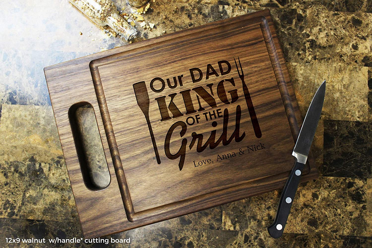 Custom Keepsake Birthday Anniversary Fathers Day Daddy #506 King Of The Grill Personalized Engraved Cutting Board Gift For Dad