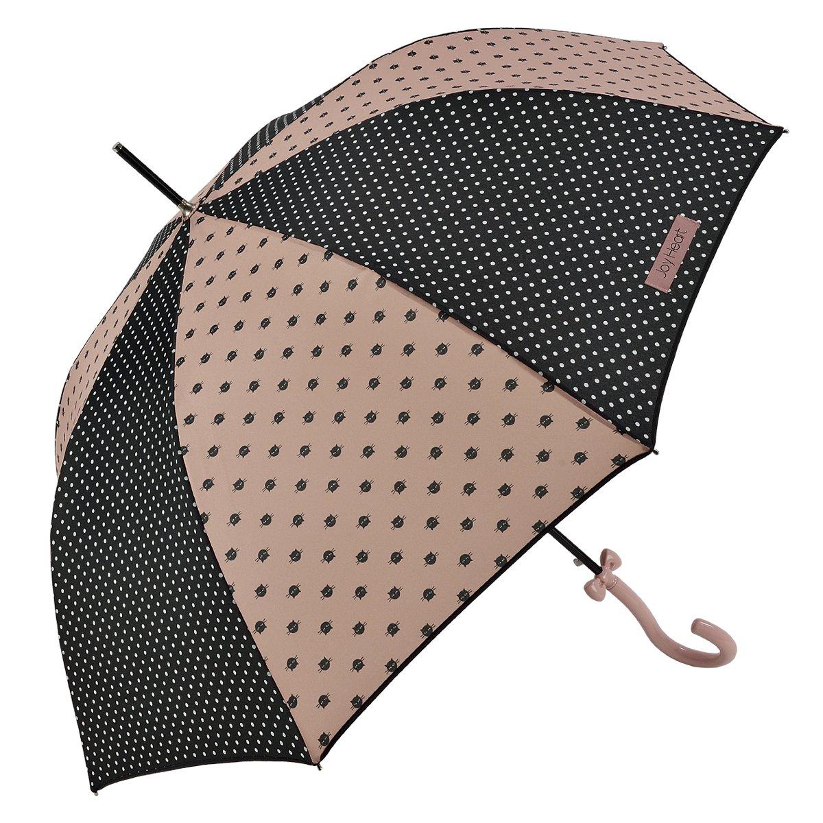 Le Monde du Parapluie Joy Heart - Résistant au Vent - Parapluie Canne Long Femme Automatique, 89 cm, Noir à Pois blan JOYHEART94176POISNOIRGRIS