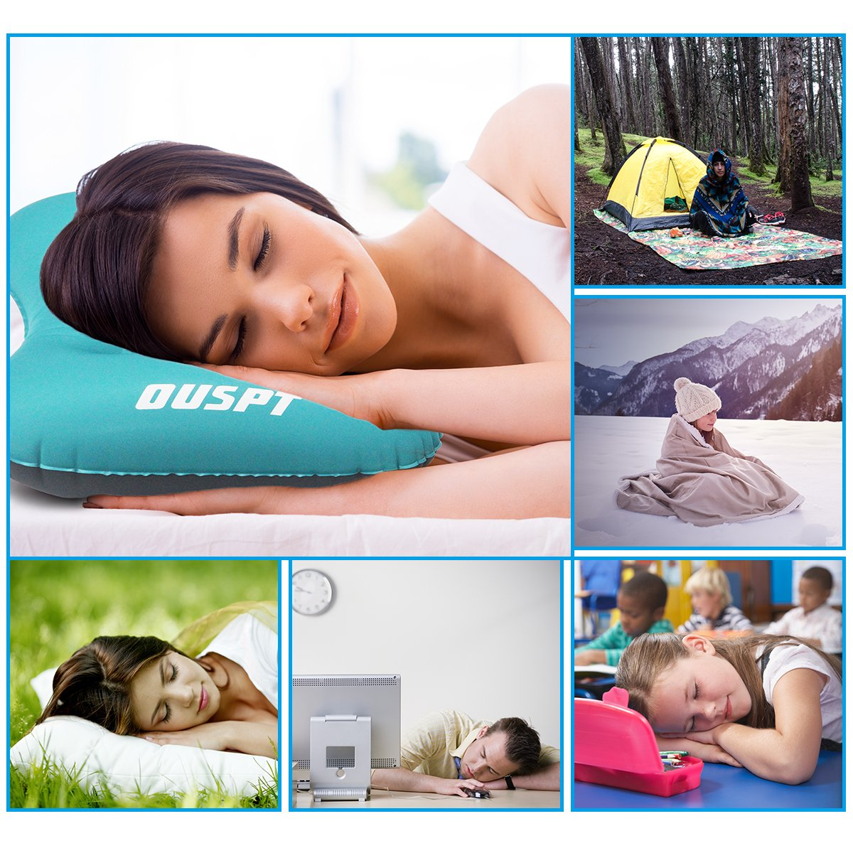 OUSPT Inflatable Camping Pillows Ultralight Compact Pillows Compressible Blow up Pillow Comfortable Ergonomic Pillow for Neck & Lumbar Support on Travel Airplane Camp Backpacking Sleeping
