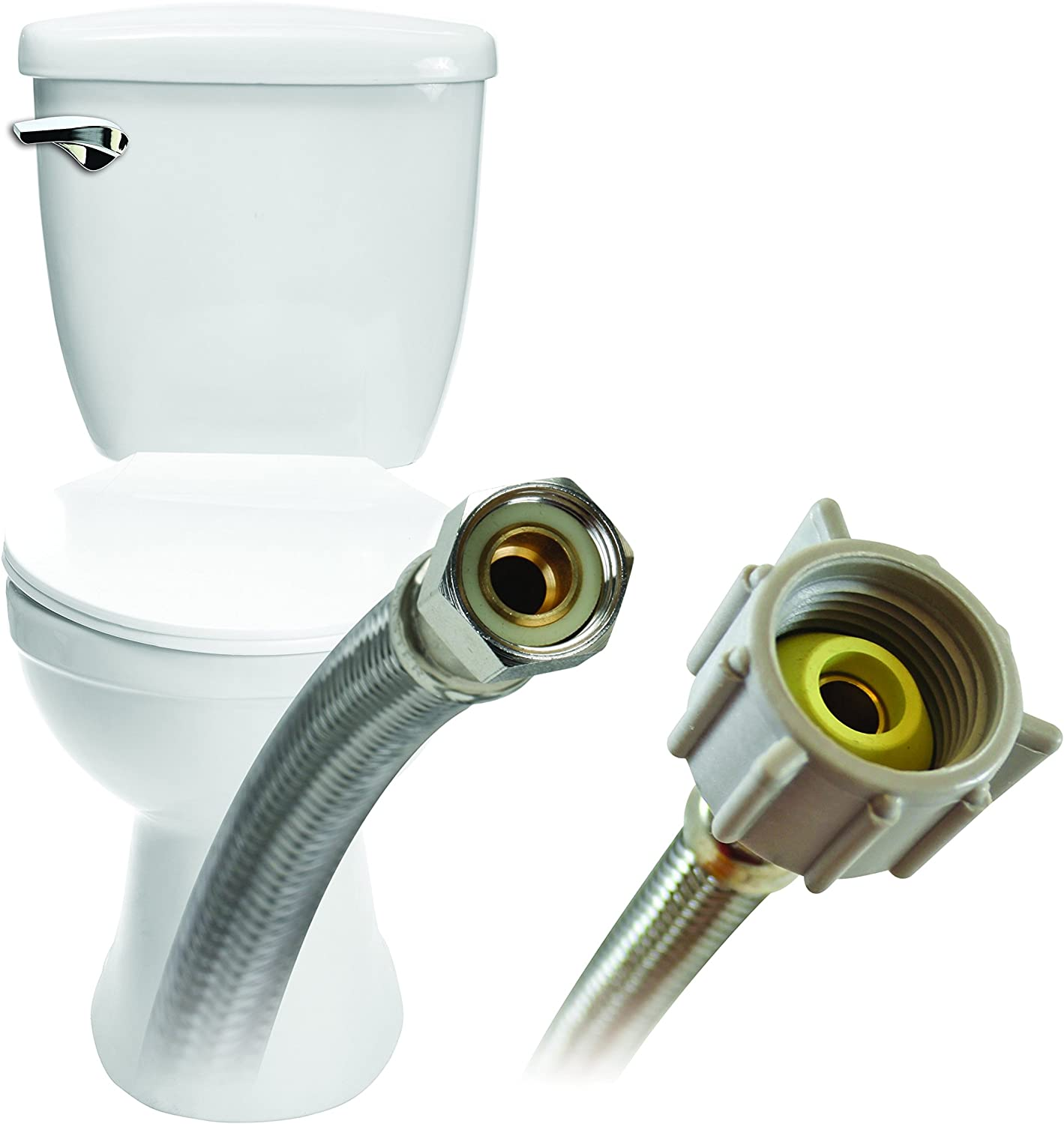 3//8 Female Compression Thread x 7//8 Female Ballcock Thread Braided Stainless Steel Fluidmaster B1T16 Toilet Connector 16-Inch Length 2 Pack