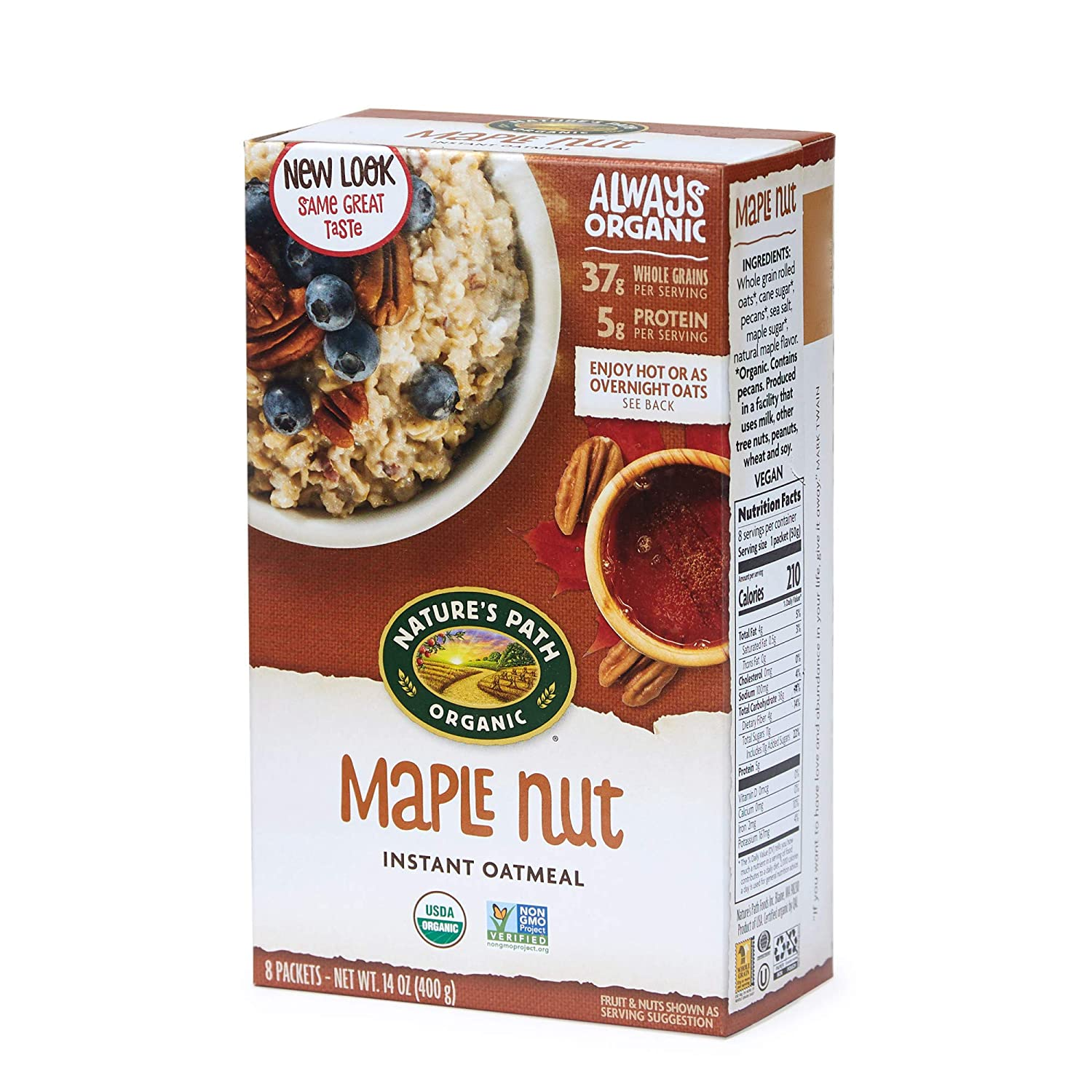 Nature's Path Maple Nut Instant Oatmeal, Healthy, Organic, 8 Pouches per Box, 14 Ounces (Pack of 6)
