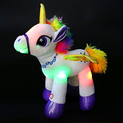 Houwsbaby Light Up Stuffed Unicorn Glow at Night Soft Horse LED Plush Toy Glitter Gift for Kids Boys Girls Girlfriend Companion Pet Holiday Birthday, 14'' (White): Toys & Games