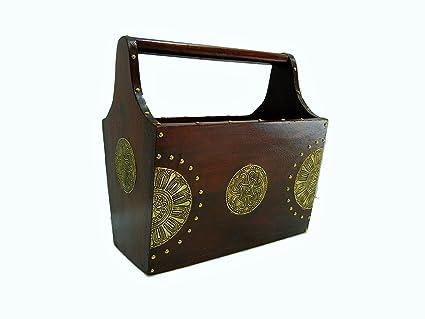 Shivay Arts Wooden Brass Contemporary Designer Magazine Holder Simple Contemporary Magazine Holder