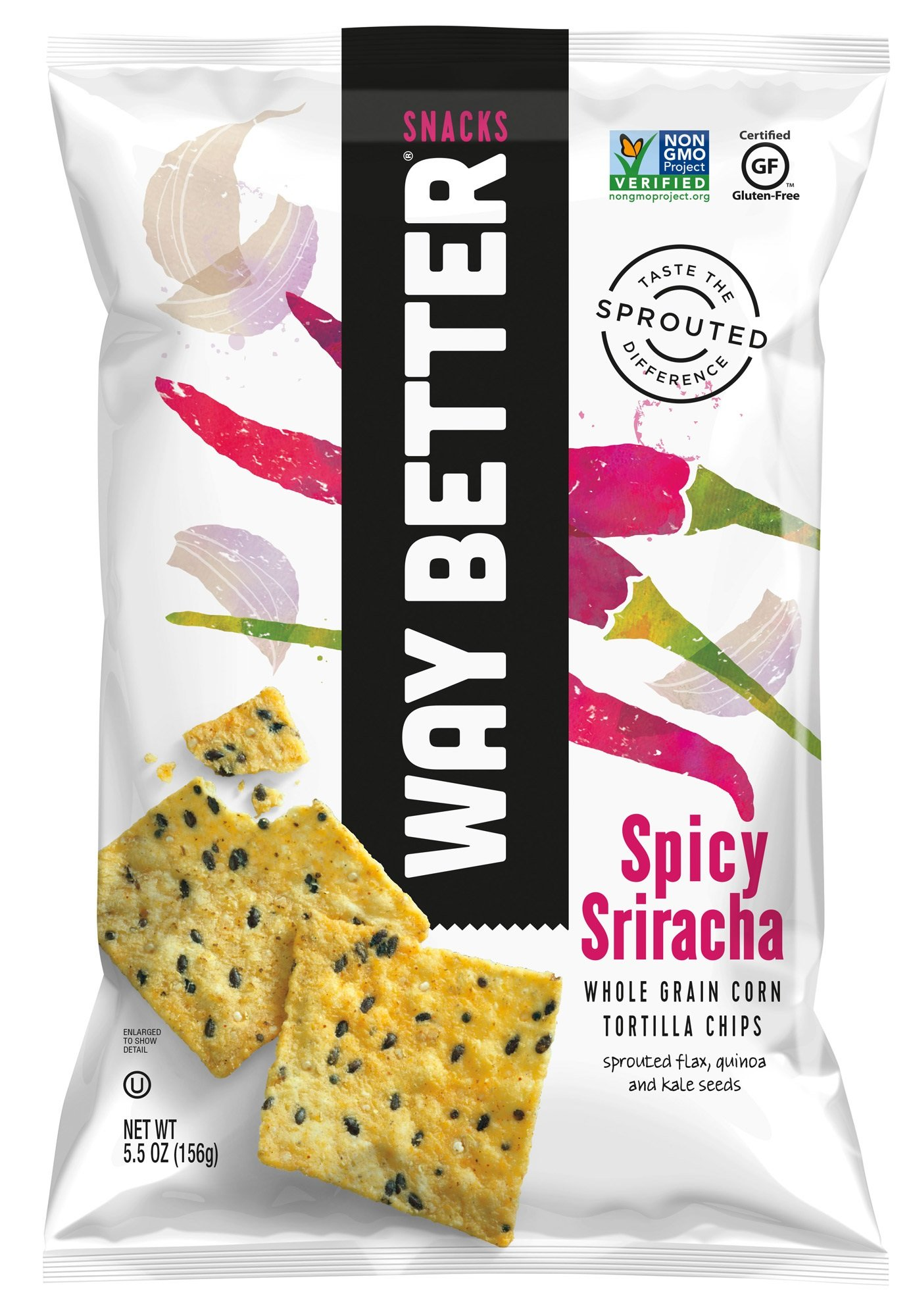 Way Better Snacks Sprouted Gluten Free Tortilla Chips, Simply Spicy Sriracha, 5.5 oz bags, 12 Count by Way Better Snacks