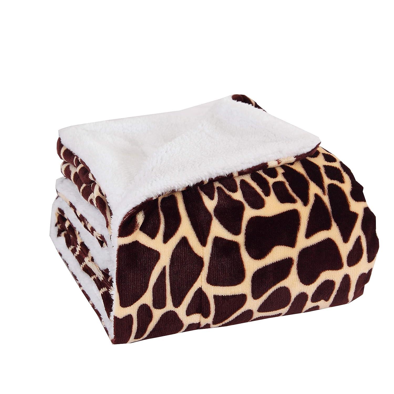 MicroMink / Sherpa Luxurious Soft 50-Inch by 60-Inch Blanket Throw, Giraffe