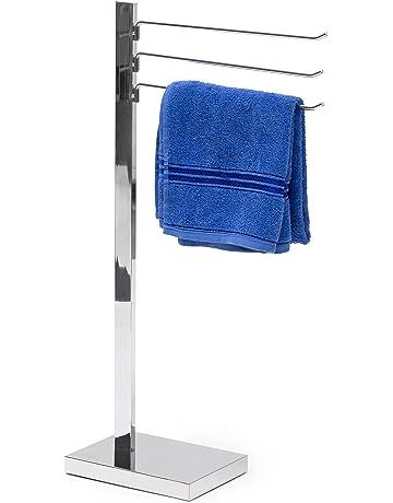 Relaxdays Toalla de Cromado Soporte 78 x 18 x 25 cm Toalla Soporte toallero con 3