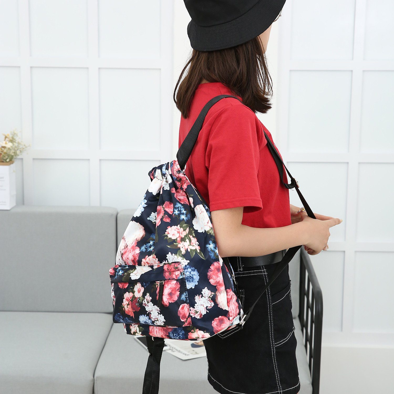 MORHUA Backpack Drawstring Bag Gymbag Drawstring Backpack Sports Travel Yoga Gymsack (Dark Orchid Pocket) by MORHUA (Image #5)