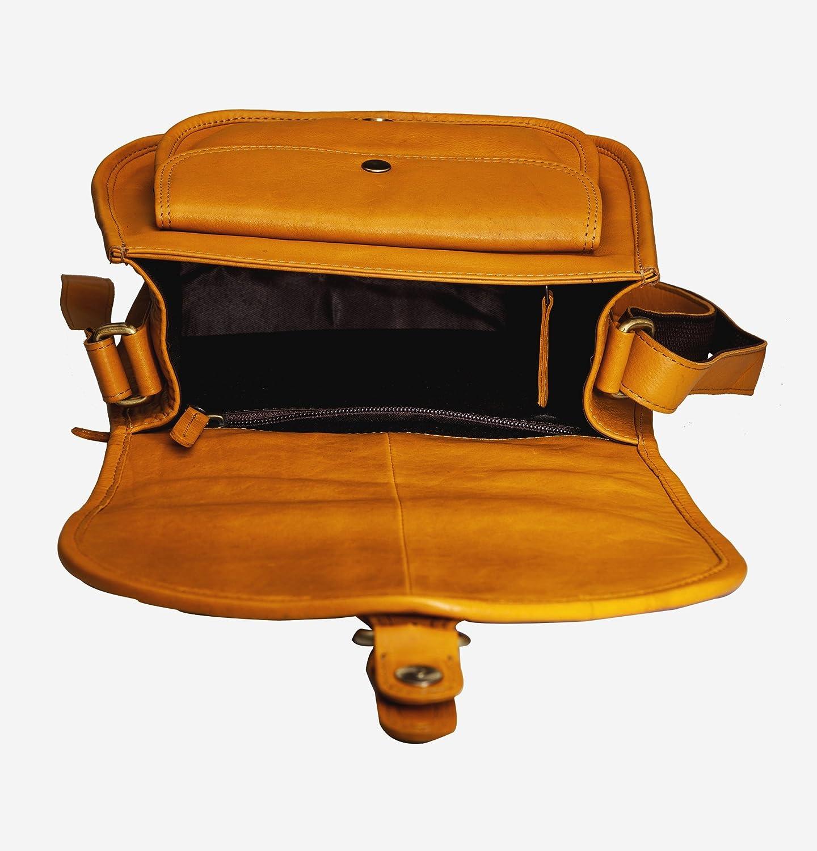 Finelaer Women Vintage Leather Saddle Crossbody Bag
