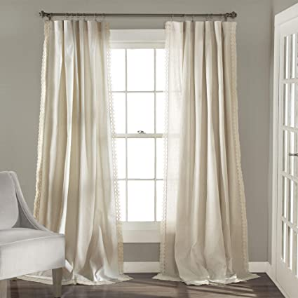 Lush Decor Rosalie Window Curtains Farmhouse, Rustic Style Panel Set for  Living, Dining Room, Bedroom (Pair), 84\
