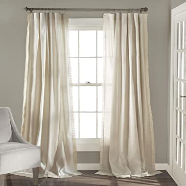 Lush Decor Rosalie Window Curtains Farmhouse, Rustic Style Panel Set for Living, Dining Room, Bedroom (Pair), 84  x 54 , Ivory