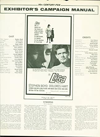 1962 Lisa press book Stephen Boyd, Dolores Hart, Leo McKern Jan de Hartog at Amazons Entertainment Collectibles Store