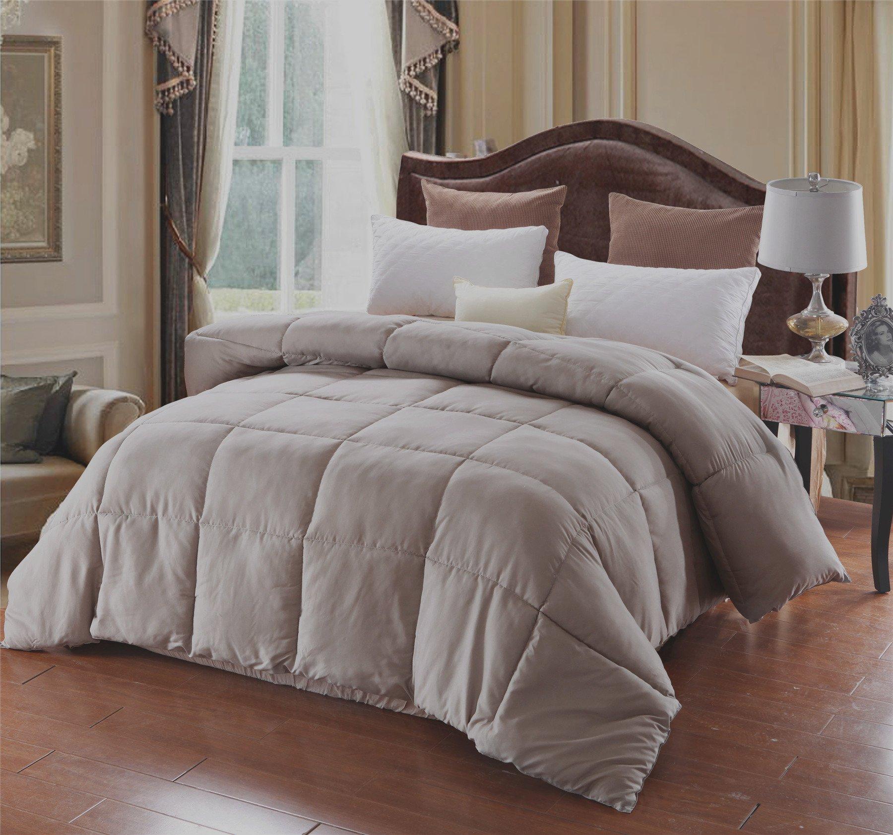 A Nice Night Lightweight Luxury Goose Down Alternative Comforter - Hypoallergenic - Solid (Queen, Grey)
