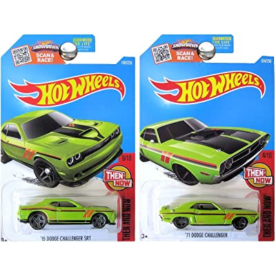 Hot Wheels 2016 Then and Now Dodge Challengers in Green KMART EXCLUSIVE SET of 2: Toys & Games