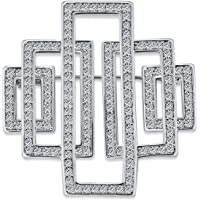 Art Deco Vintage Style Large Rectangular Pave Cubic Zirconia Brooch Pin for Women Silver Tone Rhodium Plated Brass