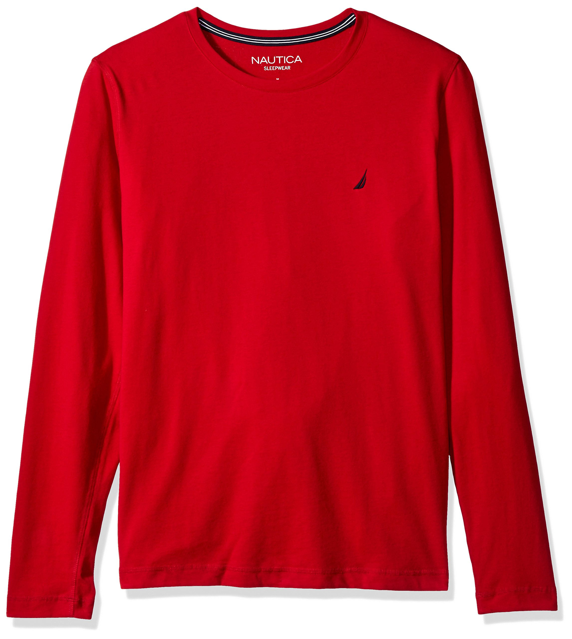 Nautica Men's Long Sleeve Crew Neck Soft Sleep Tee, Red, X-Large