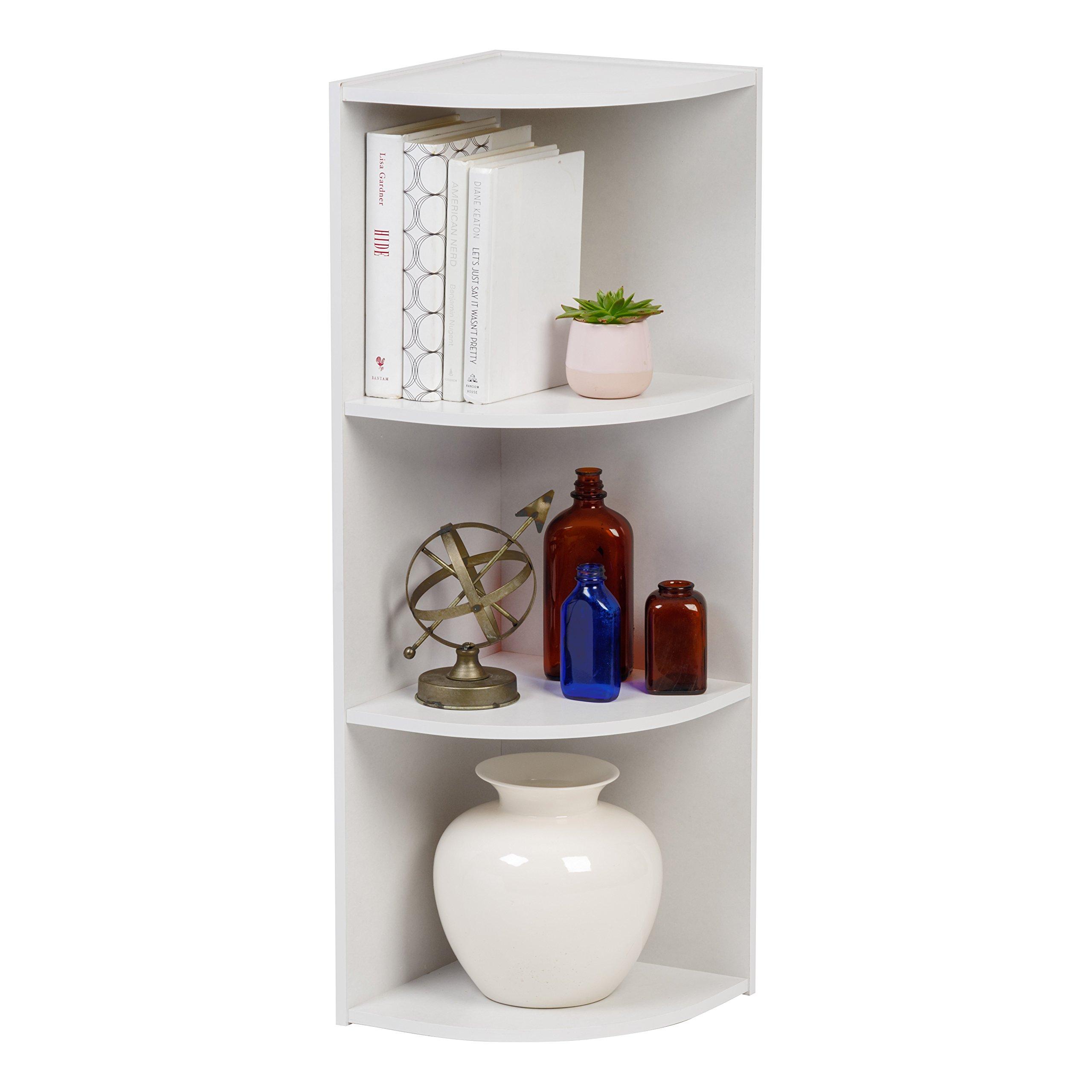 IRIS 3-Tier Corner Curved Shelf Organizer, White