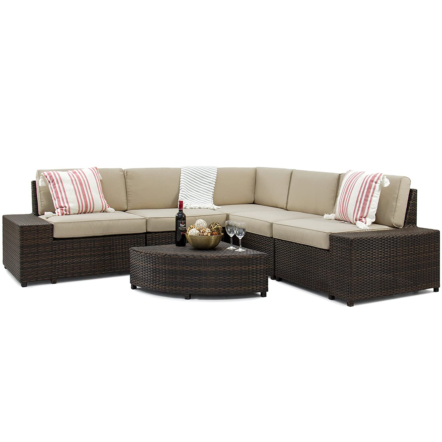 Amazon.com: Best Choice Products 6 Piece Wicker Sectional Sofa Patio  Furniture Set W/5 Seats, Corner Coffee Table, Padded Cushions, No Assembly  Required ...