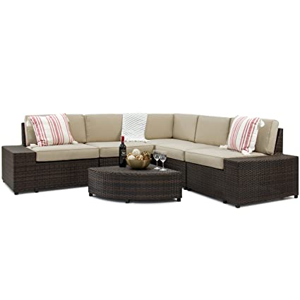 Best Choice Products 6 Piece Wicker Sectional Sofa Patio Furniture Set W/ 5  Seats
