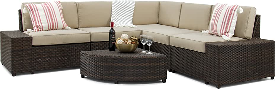 Best Choice Products 6-Piece Patio Wicker Sectional Sofa Furniture Set w/ 5 Seats, Coffee Table, No Assembly - Brown