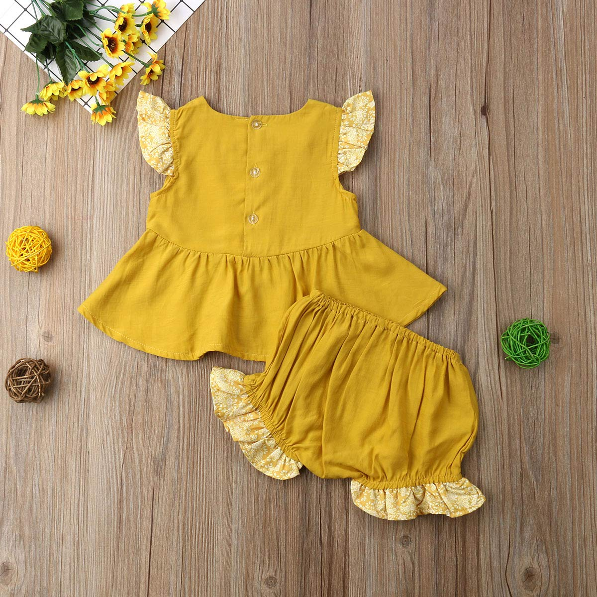 Infant Baby Girls Ruffle Tunic T Shirts Dress Tops Shorts Set Outfits Clothes