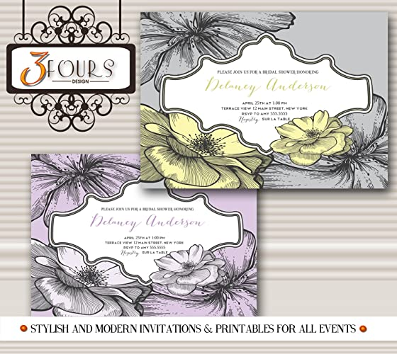 Vintage Floral Bridal Shower Birthday Invitation