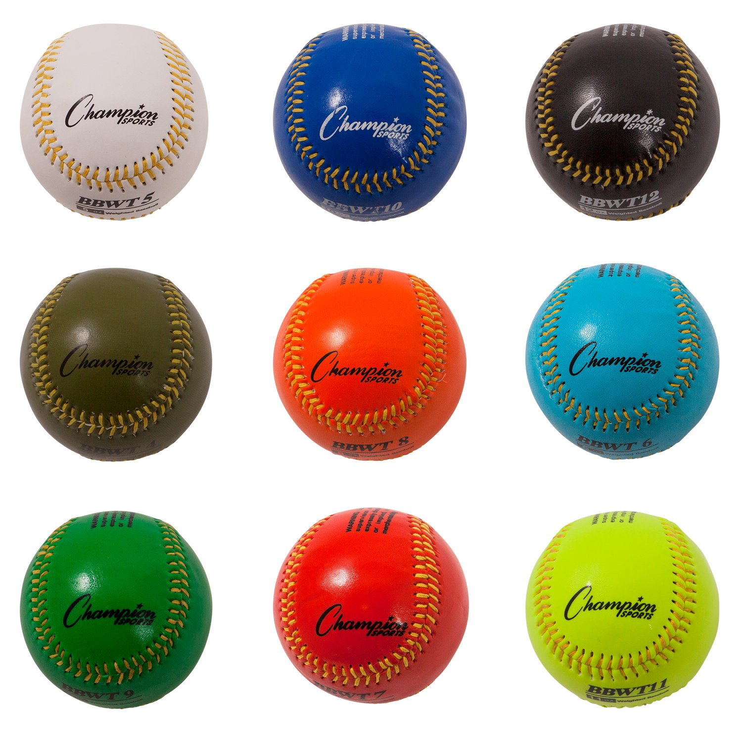 Champion Sports Weighted Training Baseball Set with Nylon Carrying Case BBWTSET