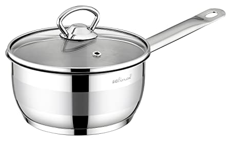 SAFINOX 18 10 Stainless Steel Tri-Ply Thermo Capsulated Bottom 3-Quart Sauce Pan with Glass Lid, Induction Ready, Dishwasher Safe
