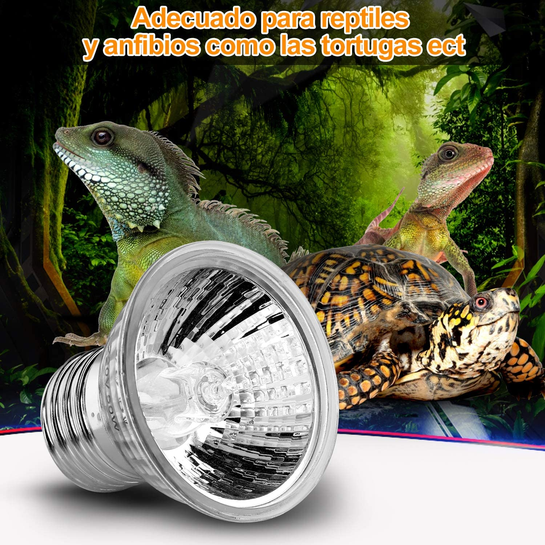 Zacro L/ámpara para Tortuga 360/° Rotaci/ón L/ámpara de Calor Reptil Anfibioss L/ámpara de Cristal de Tortuga UVA para Tortuga Lagartos 25W 50W UVB Camaleones ect para /≤1mm contenedor de Vidrio