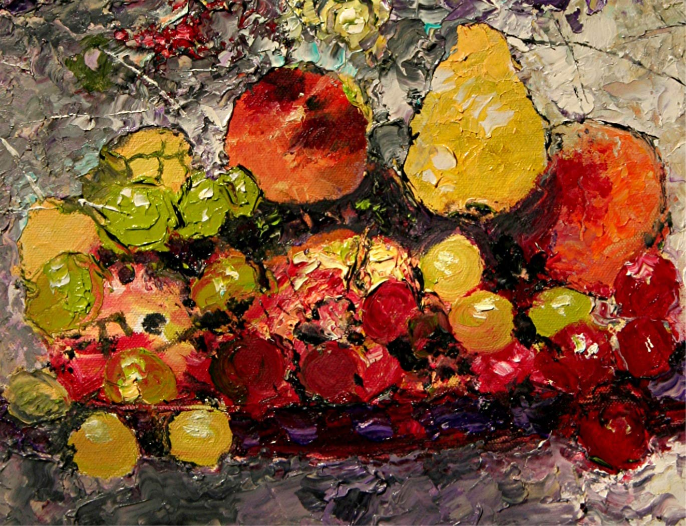 The Still Life fruit and flower still life by internationally renown painter Andre Dluhos