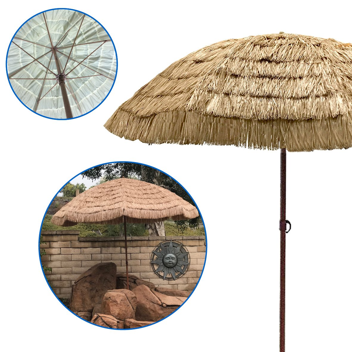 EasyGo - Thatch Patio Tiki Umbrella - Tropical Palapa Raffia Tiki Hut Hawaiian Hula Beach Umbrella (9.5ft)