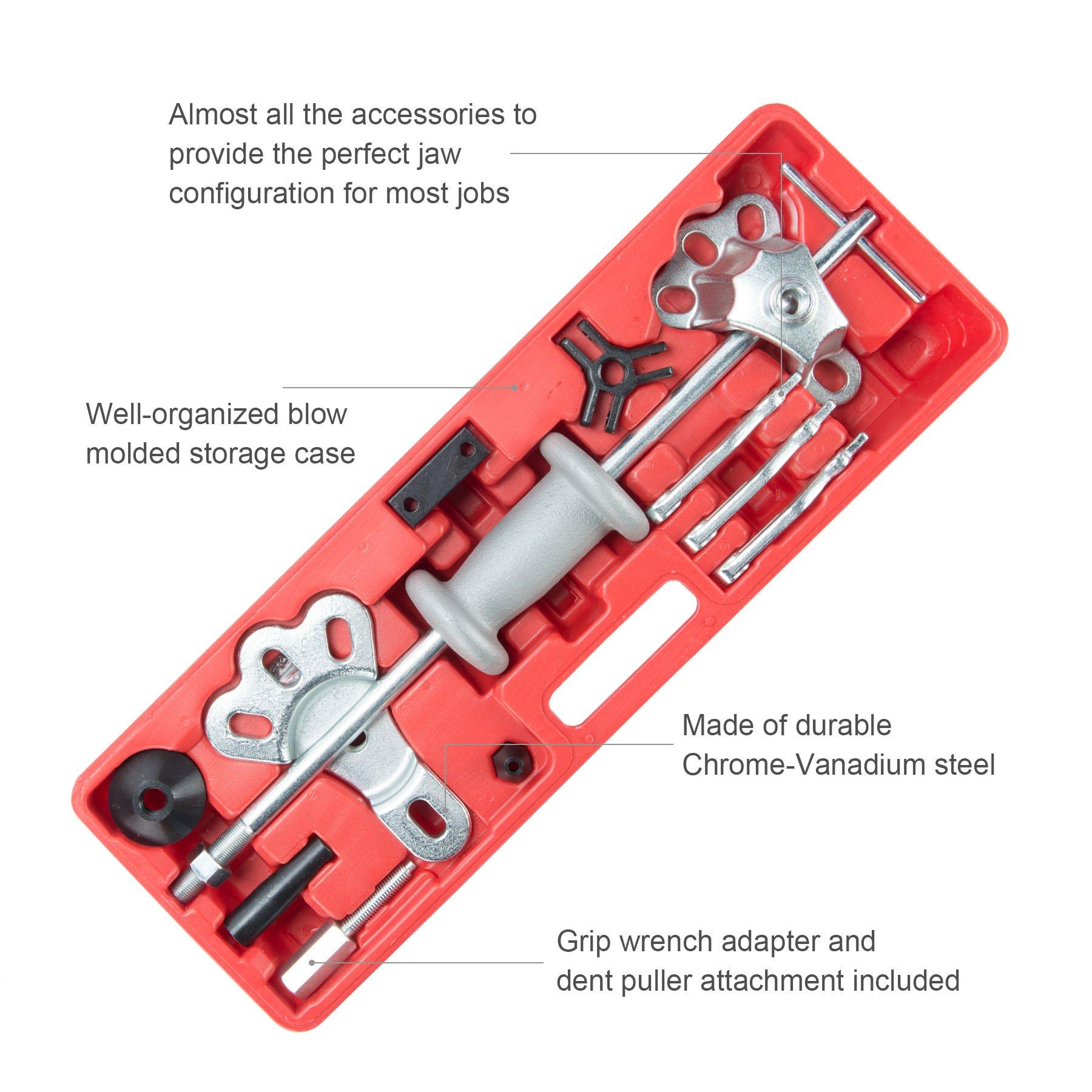 OrionMotorTech 9-Way Slide Hammer Puller Set, Front Wheel Hub Bearing Remover & Rear Wheel Axle Shaft Puller Tool Kit by OrionMotorTech (Image #2)