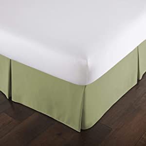 Hotel Luxury 1-PC Split Corner Tailored Bed Skirt (Pattern : Solid) 550-TC Egyptian Cotton with 16
