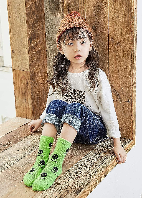 Kids Happy Smile Face Cotton Socks Toddler Novelty Mini Crew Socks for Little Girls//Boys 2-11 Years 5 Pairs Size 4-13-2.5