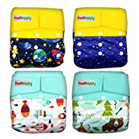 Asenappy Cloth Diaper 4 Pack Diaper Cover with Inserts